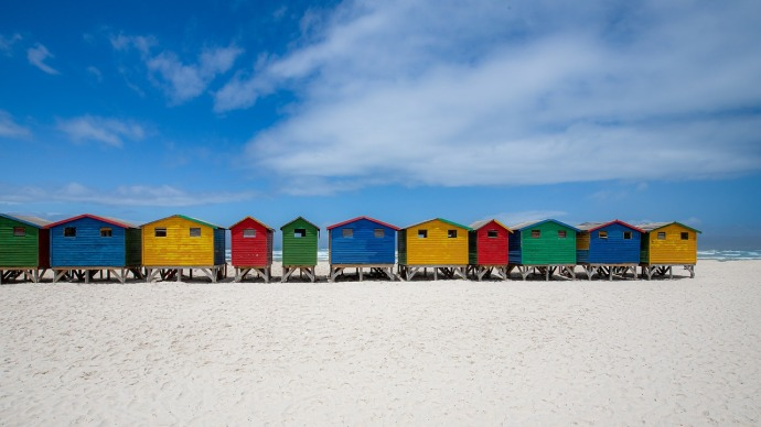 A picture of bathhouses on aCape Town beach